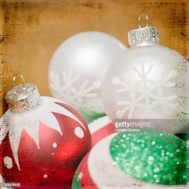 Christmas ornaments with music texture