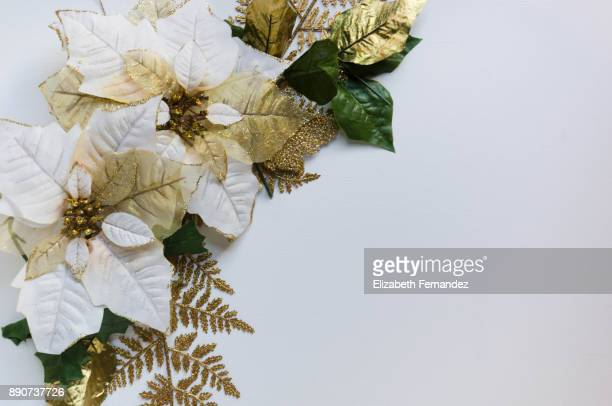 Christmas ornaments with poinsettias white on white background