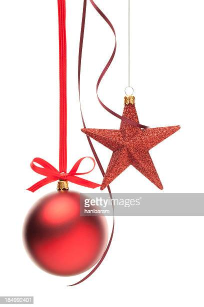Christmas ornaments with red ribbon