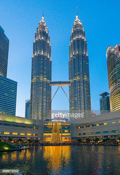 Christmas outside Petronas Twin Towers, Kuala Lumpur, Malaysia