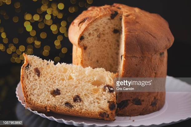 christmas panettone - sponge cake stock pictures, royalty-free photos & images