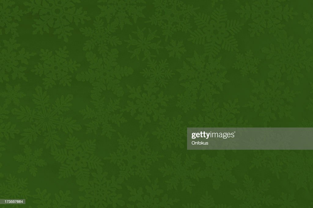 Christmas Paper Texture Background with Green and White Snowflakes : Stockfoto