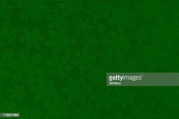 Christmas Paper Texture Background with Green and White Snowflakes