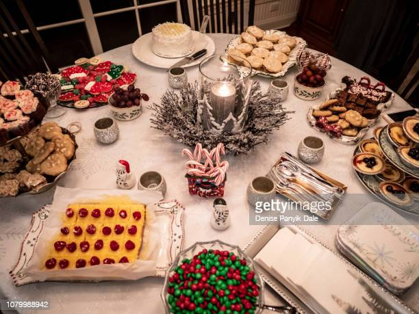 christmas party dessert table - panyik-dale stock photos and pictures