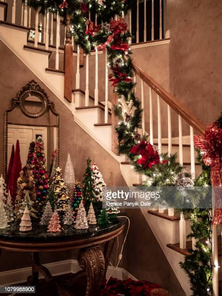christmas party tree decorations - panyik-dale stock photos and pictures