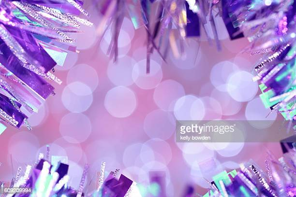 christmas pastel tinsel glitter border - tinsel stock pictures, royalty-free photos & images