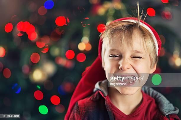 Christmas portrait of a happy little boy winking.