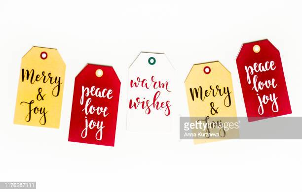 christmas postcard, top view. christmas background. christmas symbols isolated on white. - christmas banner stock photos and pictures