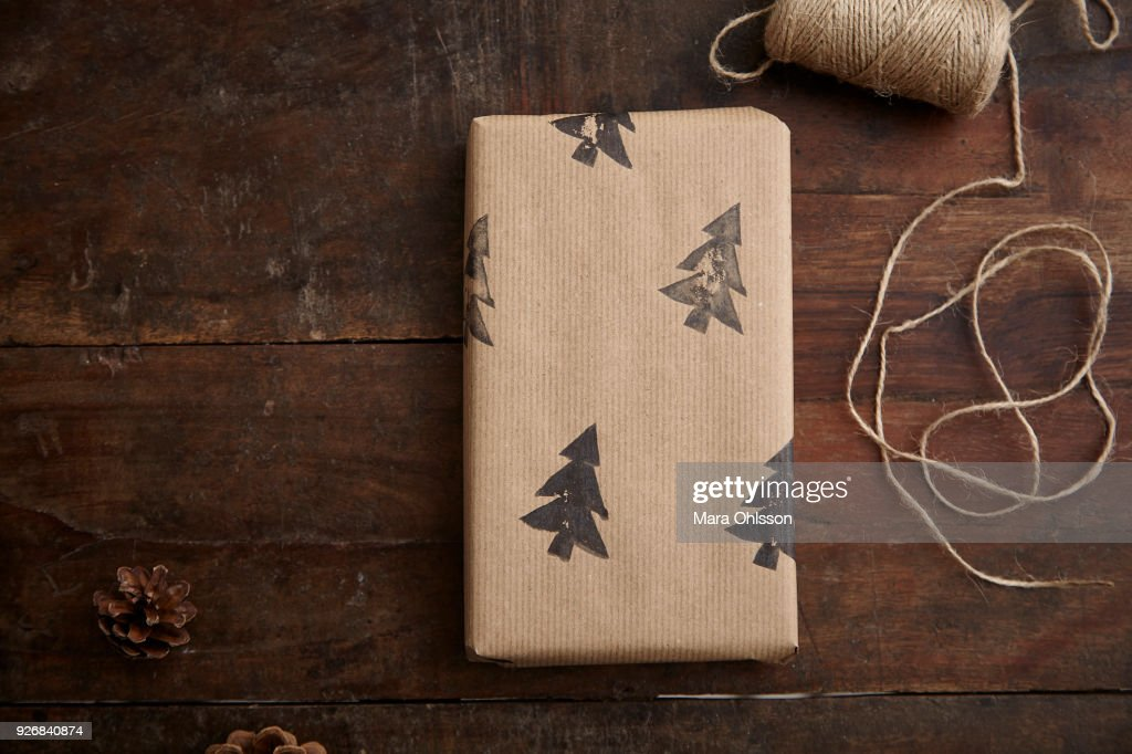 Christmas present and string : Stock Photo