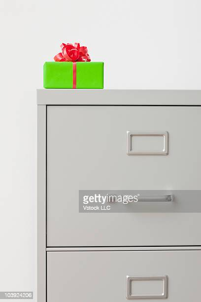Christmas present on filing cabinet