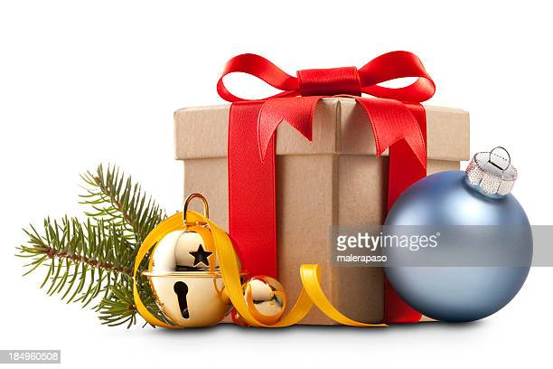 christmas present with decoration - christmas gifts stock photos and pictures
