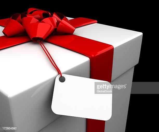 Christmas Present (Square) with Ribbon & Tag - isolated
