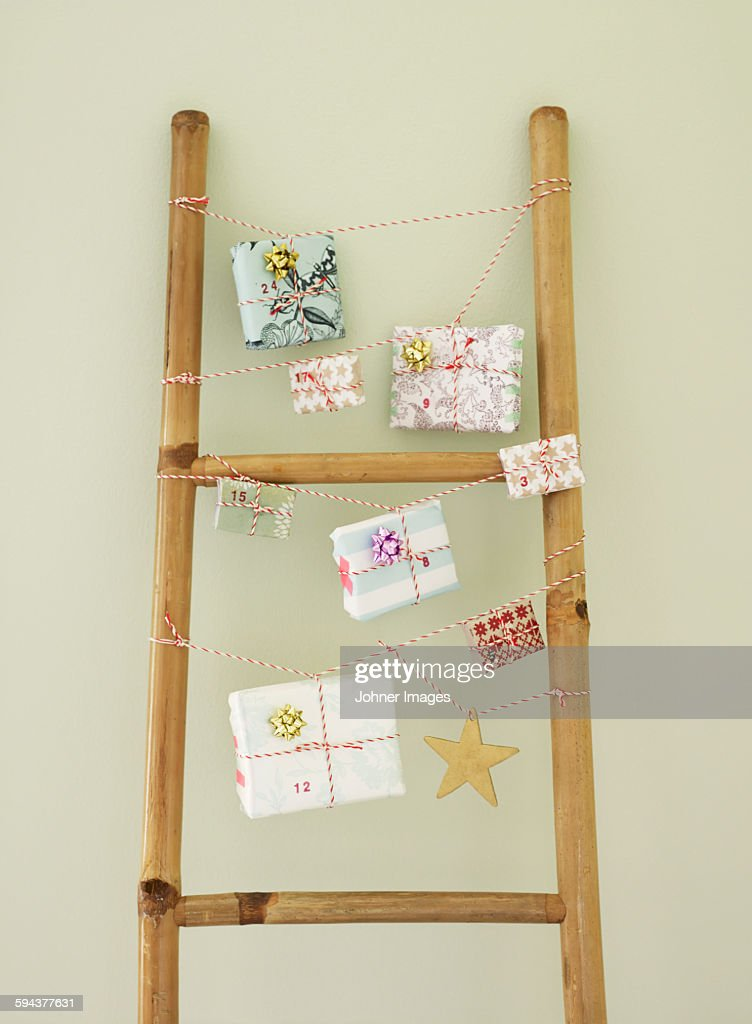 Christmas presents and decorations : Stock Photo