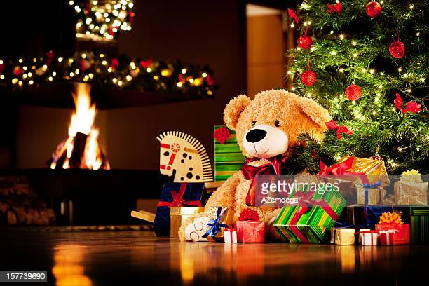 christmas presents - teddy bear stock pictures, royalty-free photos & images