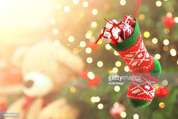 christmas presents - christmas stocking stock photos and pictures