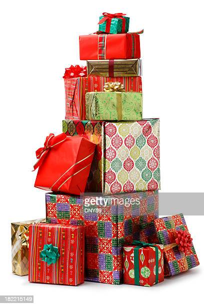 christmas presents - stack stock photos and pictures