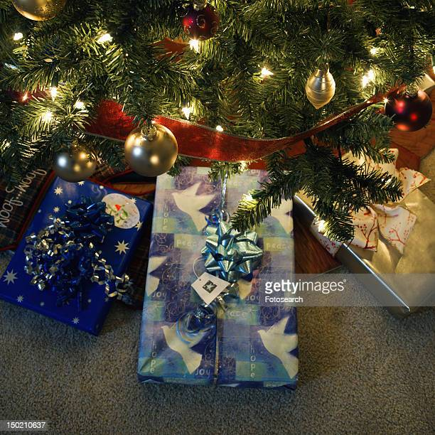 Christmas presents under decorated Christmas tree