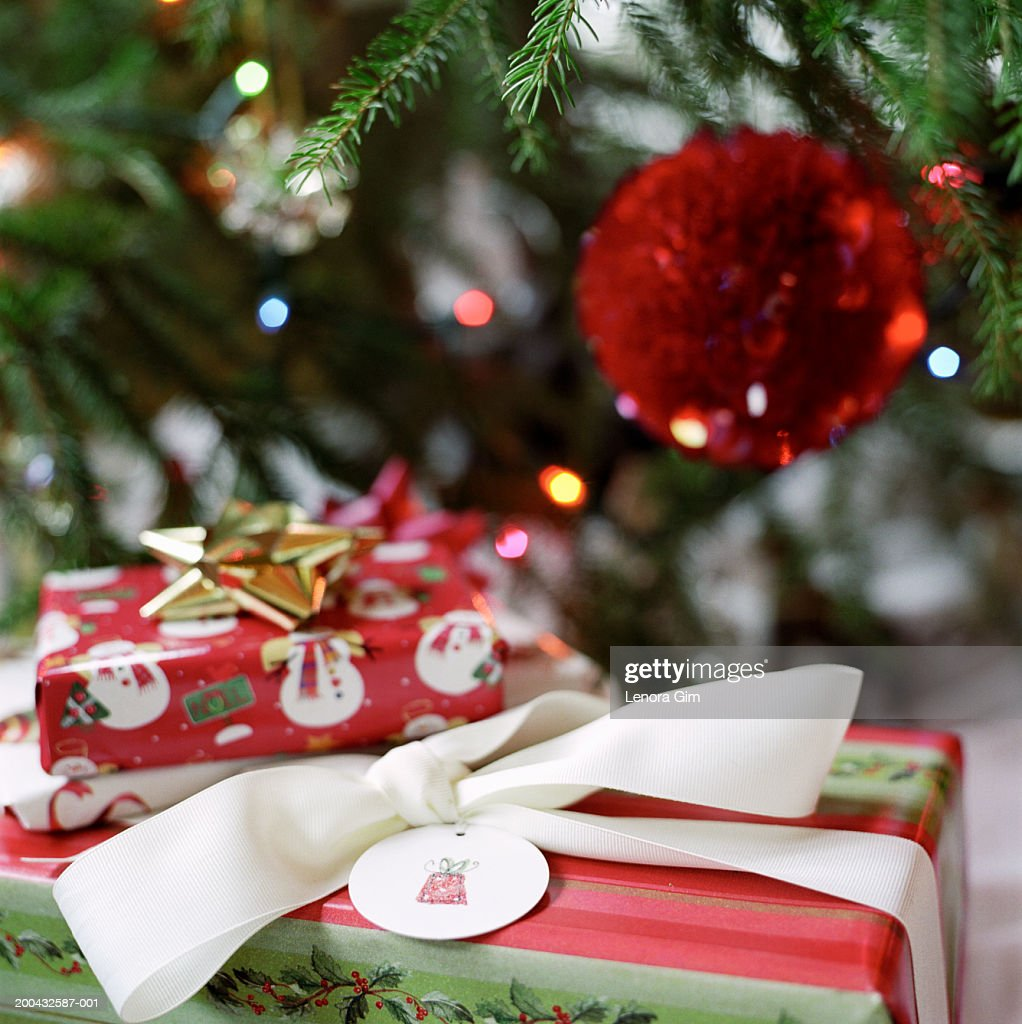 Christmas Presents Under Tree.Christmas Presents Under Tree Closeup High Res Stock Photo