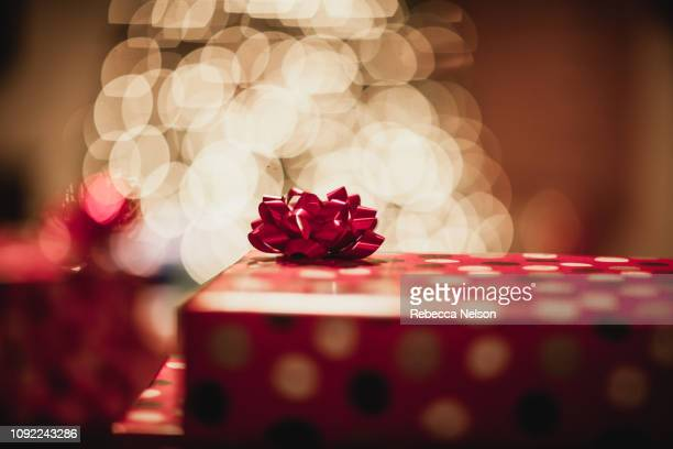 christmas presents with bows in front of christmas tree - rebecca nelson stock pictures, royalty-free photos & images