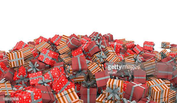 christmas presents with silver bow - heap stock pictures, royalty-free photos & images