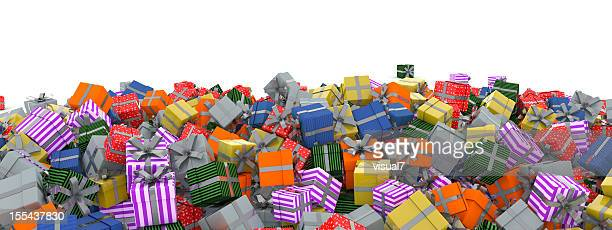 christmas presents with silver bow