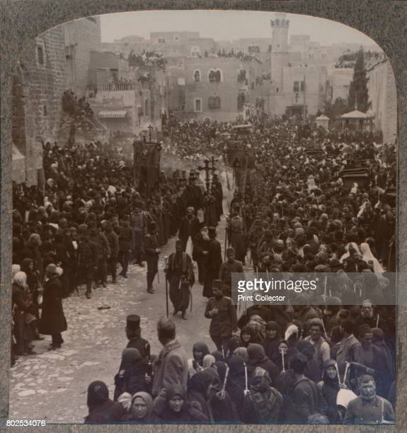 Christmas procession in Bethlehem' c1900 From Journey in All Lands Palestine [Realistic Travels London Cape Town Bombay Melbourne Toronto...