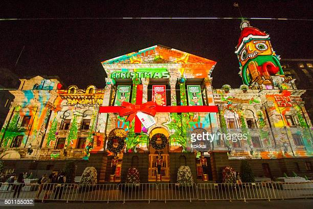 Christmas projection on Melbourne Town Hall