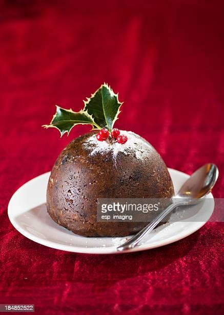 Christmas pudding on red cloth