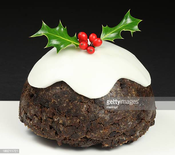 christmas pudding - christmas cake stock photos and pictures