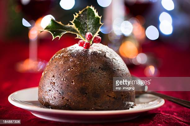 Christmas pudding with out of focus highlights