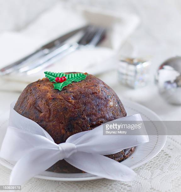 Christmas Pudding with Red Bow. Mumbai, India.