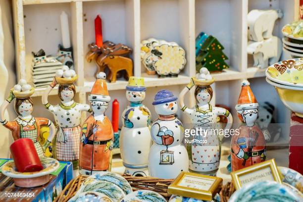 Christmas puppets of snowmen and Santa Claus Christmas Market in the Northern Bavarian town of Bayreuth