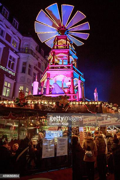 Christmas Pyramid turns at the Christmas market on November 28 2014 in Rostock Germany Christmas markets across Germany will open this week and stay...