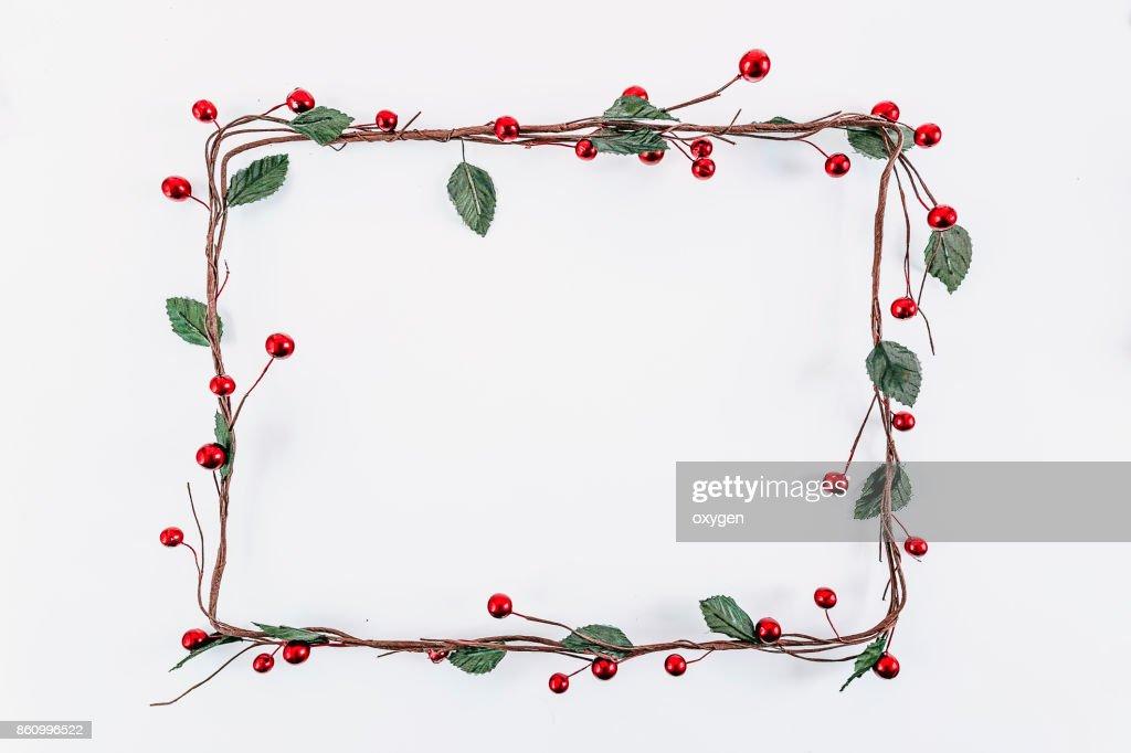 Christmas rectangular frame decoration on white background : Stock Photo