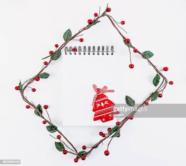 Christmas rectangular frame decoration on white background