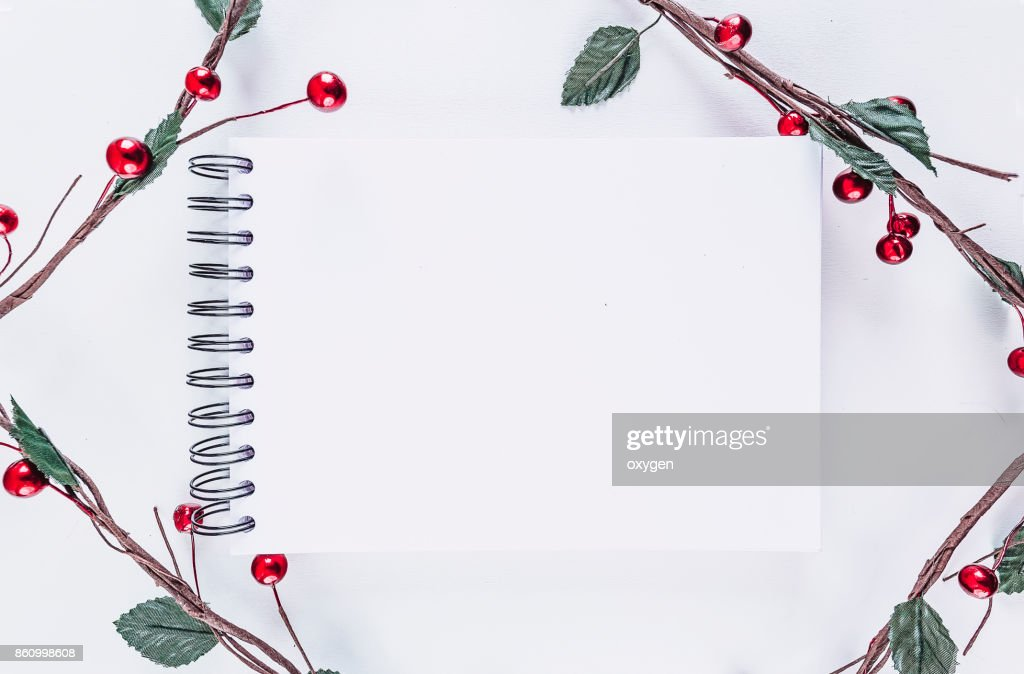 Christmas rectangular frame decoration on white background : Stock Photo