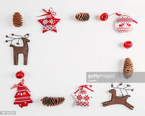 Christmas rectangular frame decoration on white background