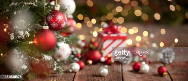 christmas red and white gift and ornaments background - christmas banner stock photos and pictures