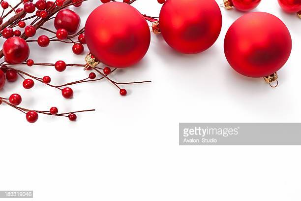 Christmas red decoration on a white background