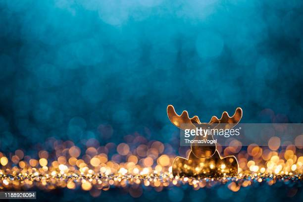 christmas reindeer - defocused decoration gold blue bokeh - funny christmas stock pictures, royalty-free photos & images