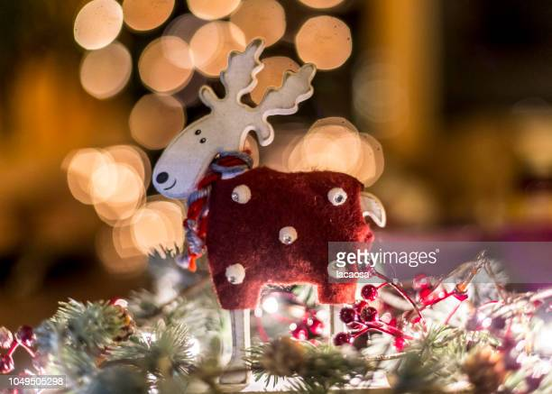 Christmas reindeer in front of christmas lights