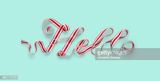 Christmas Ribbon Spelling Hello