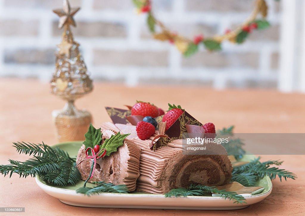 Christmas rolled cake : Stock Photo