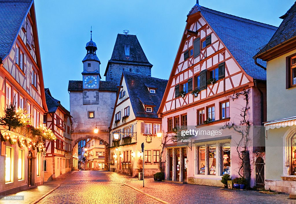 christmas rothenburg ob der tauber bavaria germany stock photo getty images. Black Bedroom Furniture Sets. Home Design Ideas