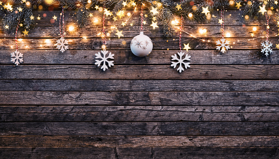 Christmas rustic background with wooden planks 1035497434