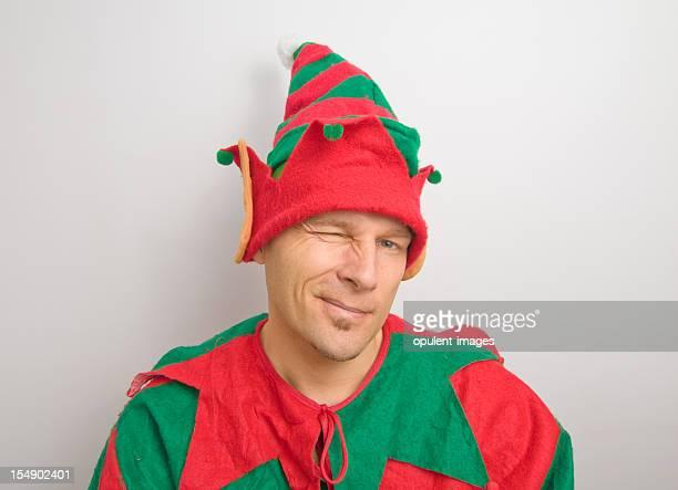 Christmas Santa Elf Winking