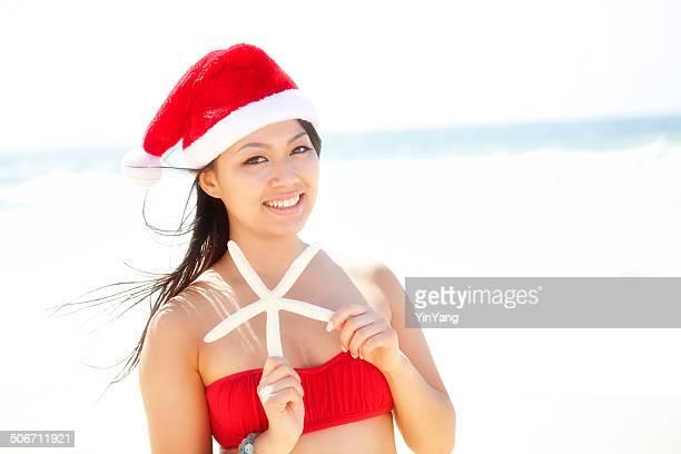 Christmas Santa Girl Invitation to Tropical Beach vacation Horizontal