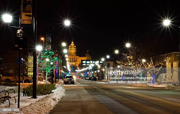 Christmas scene around Iowa Capitol Building
