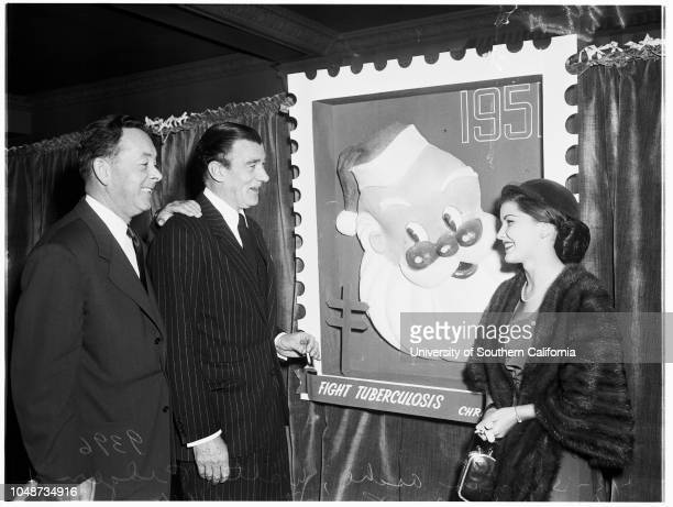 Christmas seal campaign luncheon, 14 November 1951. Sherman Asche, Seal Chairman;Walter Pidgeon;Debra Paget;Claire Trevor..