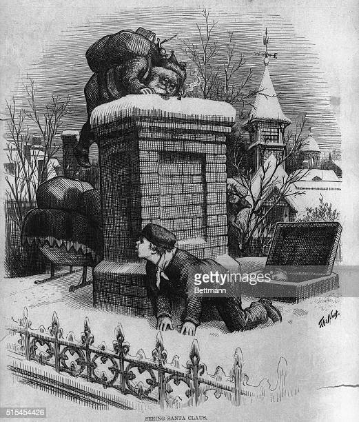 Seeing Santa Claus Cartoon by Thomas Nast Undated